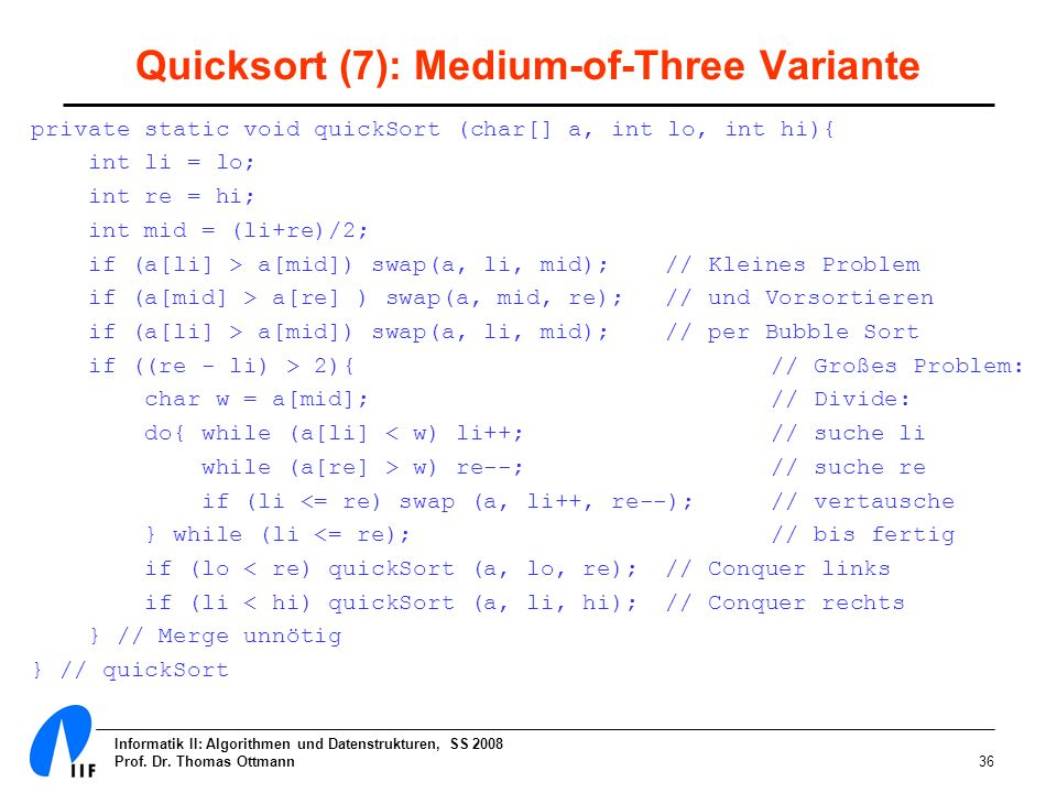 Quicksort (7): Medium-of-Three Variante