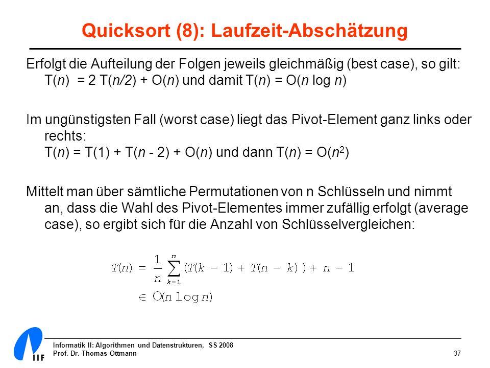 Quicksort (8): Laufzeit-Abschätzung