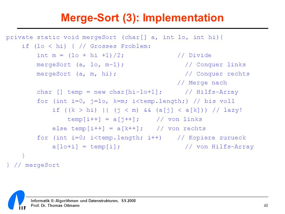Merge-Sort (3): Implementation