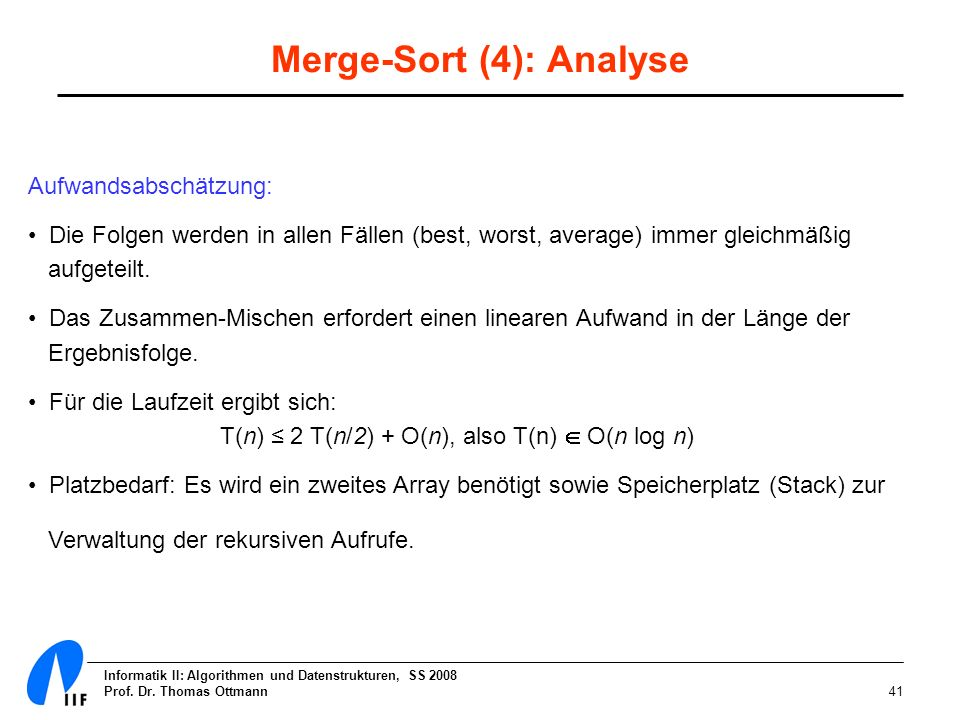 Merge-Sort (4): Analyse