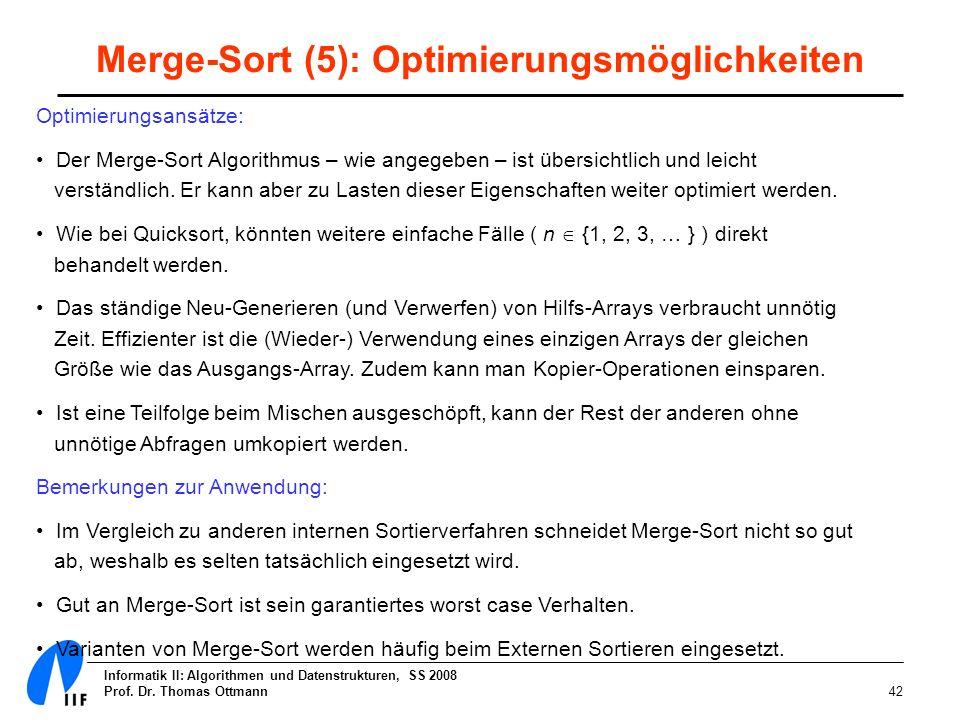 Merge-Sort (5): Optimierungsmöglichkeiten