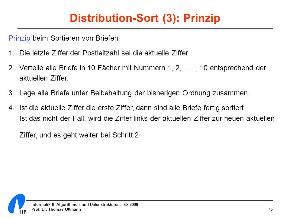Distribution-Sort (3): Prinzip