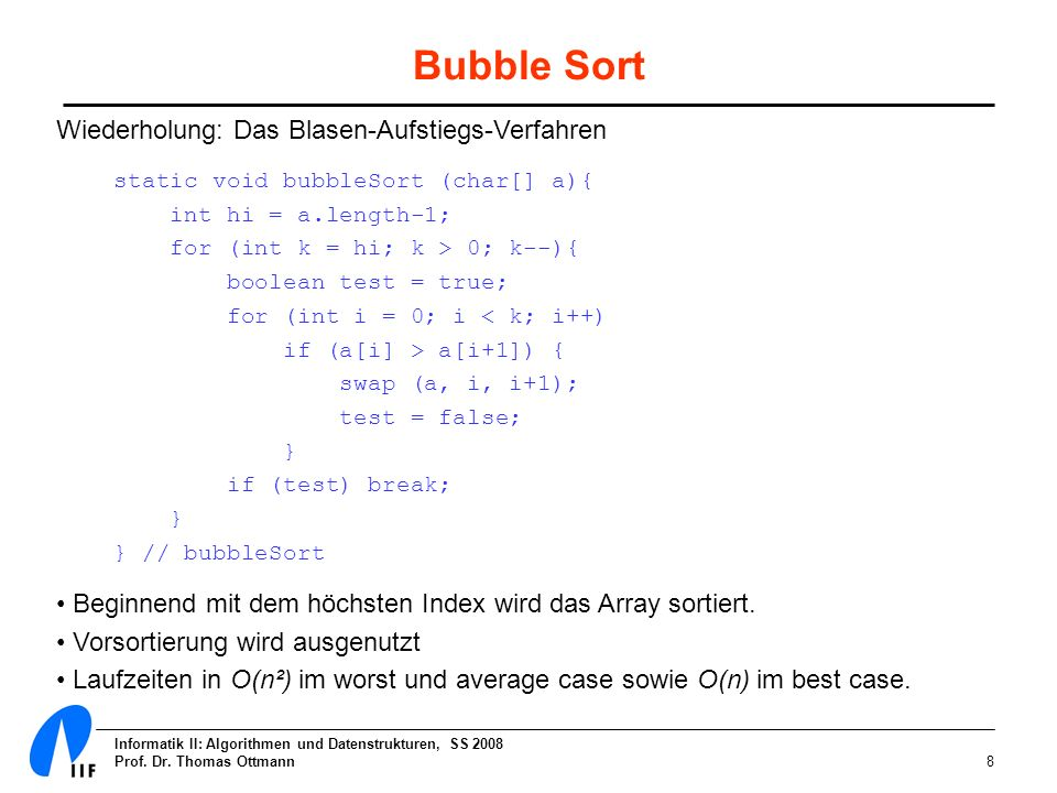 Bubble Sort Wiederholung: Das Blasen-Aufstiegs-Verfahren