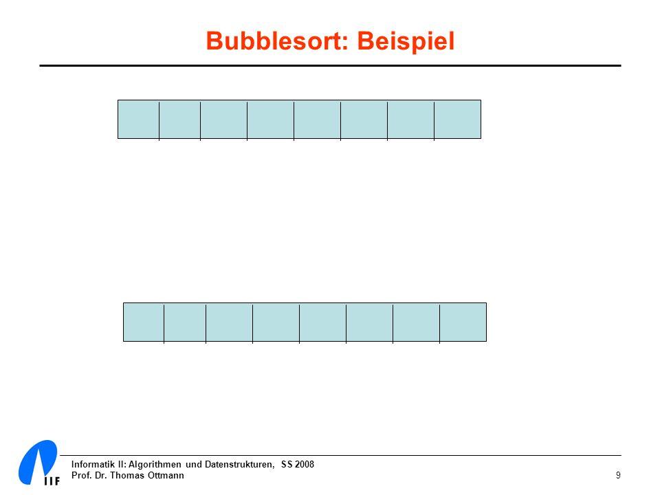 Bubblesort: Beispiel Informatik II: Algorithmen und Datenstrukturen, SS 2008.