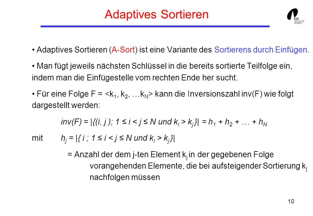 Adaptives Sortieren Adaptives Sortieren (A-Sort) ist eine Variante des Sortierens durch Einfügen.