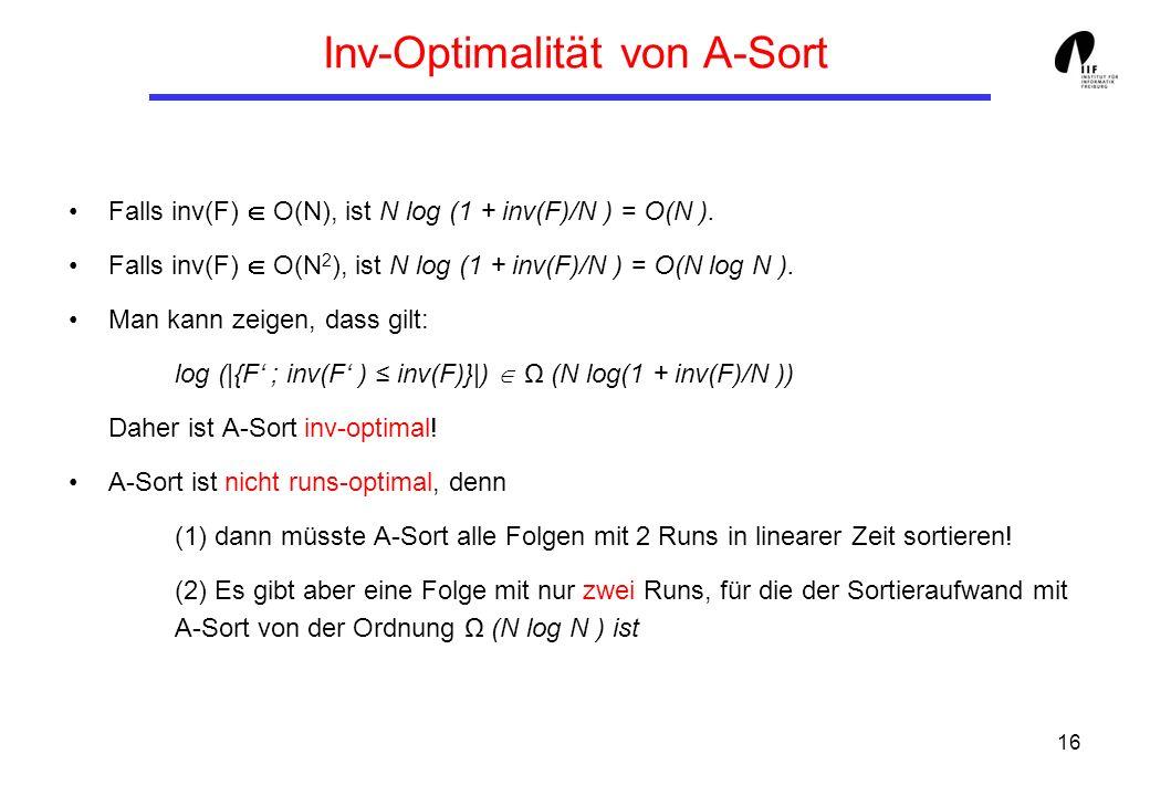 Inv-Optimalität von A-Sort