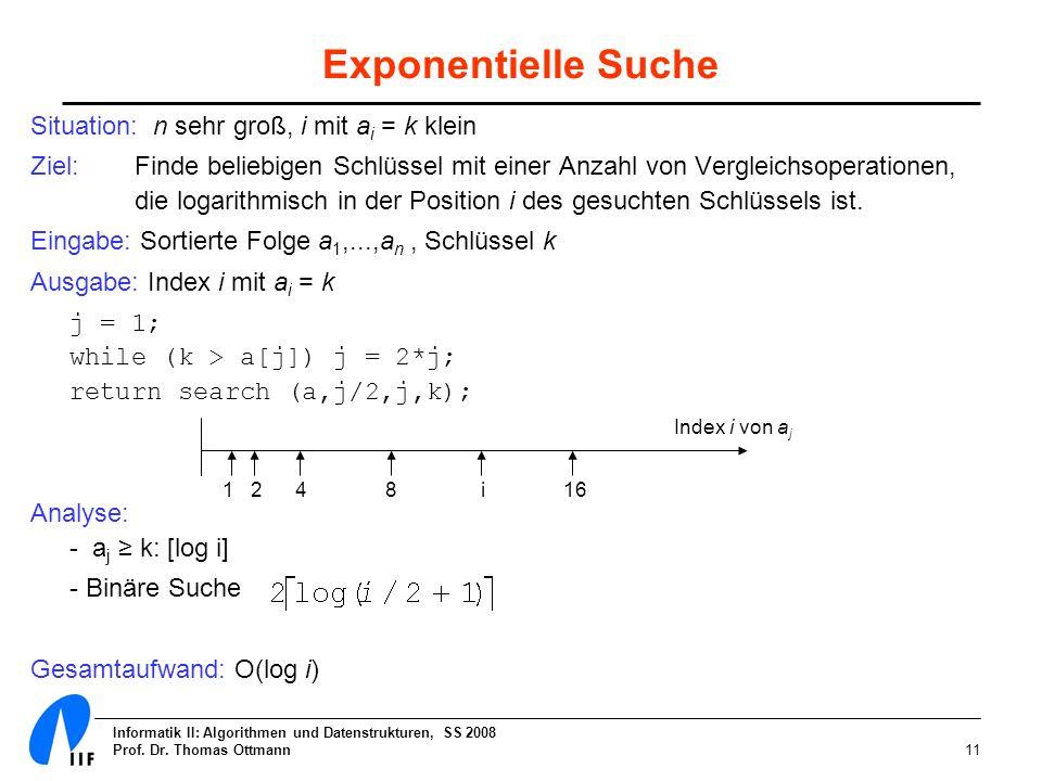 Exponentielle Suche Situation: n sehr groß, i mit ai = k klein