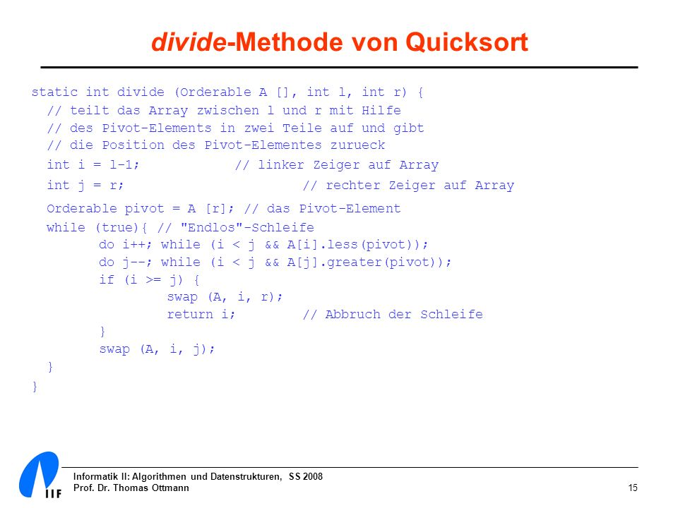 divide-Methode von Quicksort