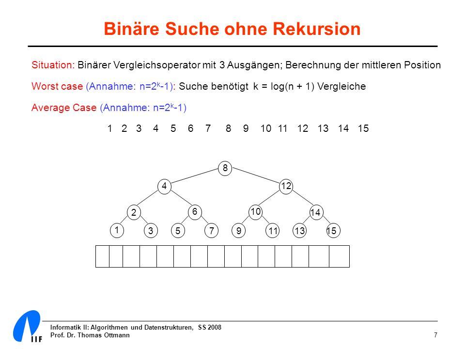 Binäre Suche ohne Rekursion