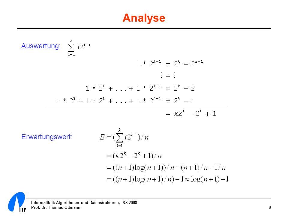 Analyse Auswertung: Erwartungswert: