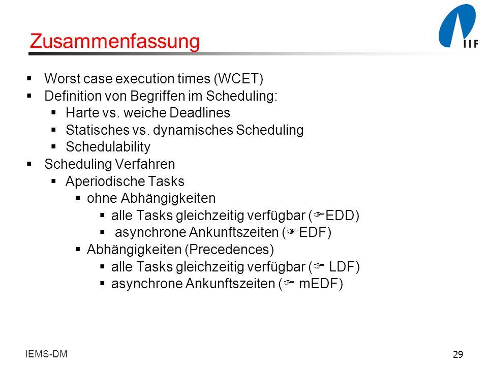 Zusammenfassung Worst case execution times (WCET)