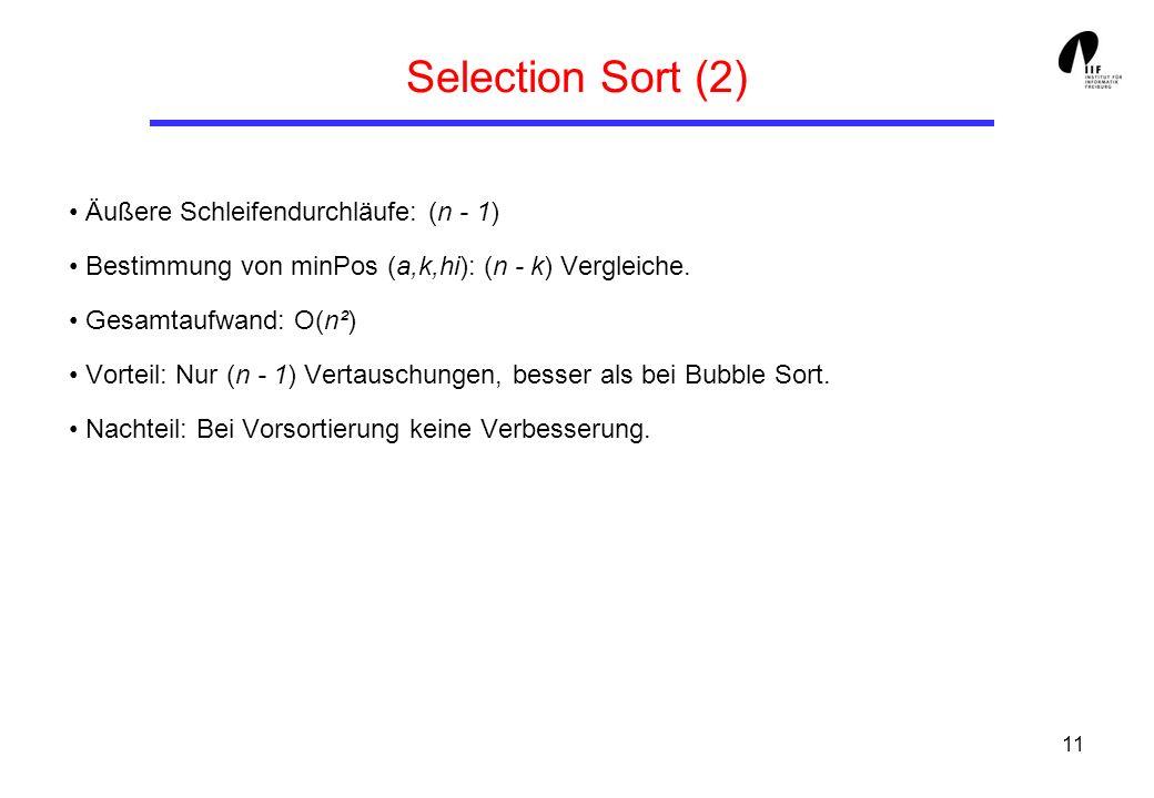 Selection Sort (2) • Äußere Schleifendurchläufe: (n - 1)
