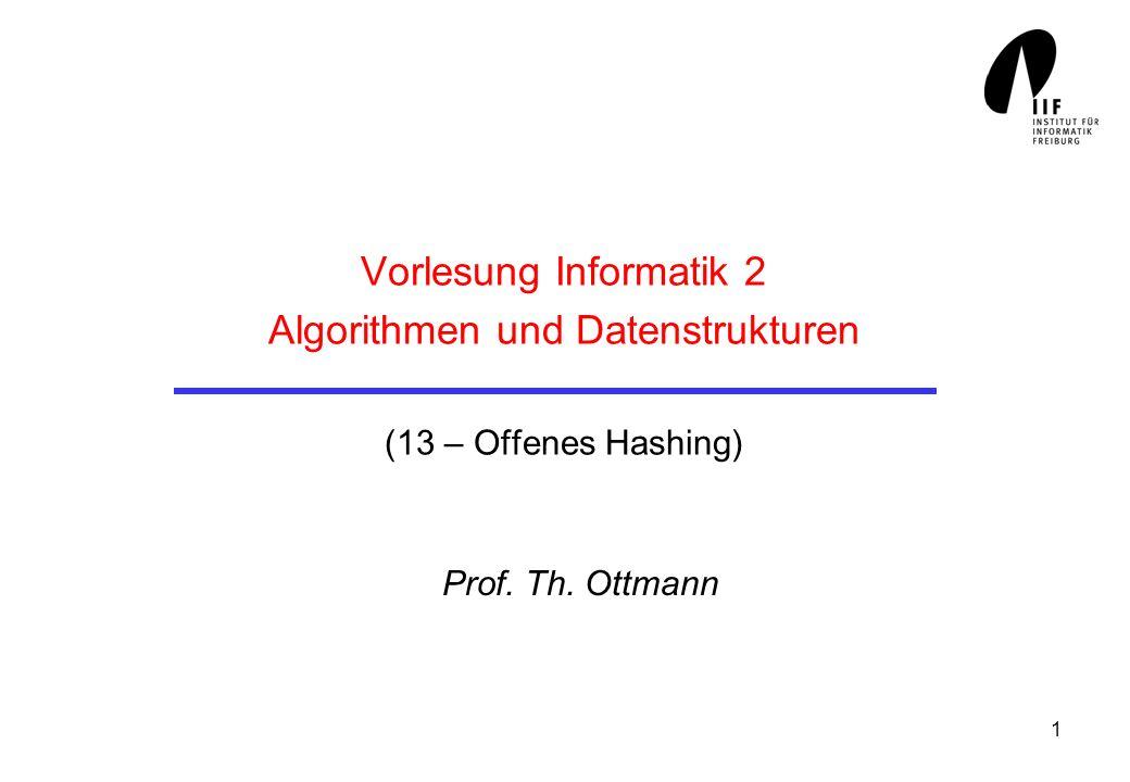 Vorlesung Informatik 2 Algorithmen und Datenstrukturen (13 – Offenes Hashing)