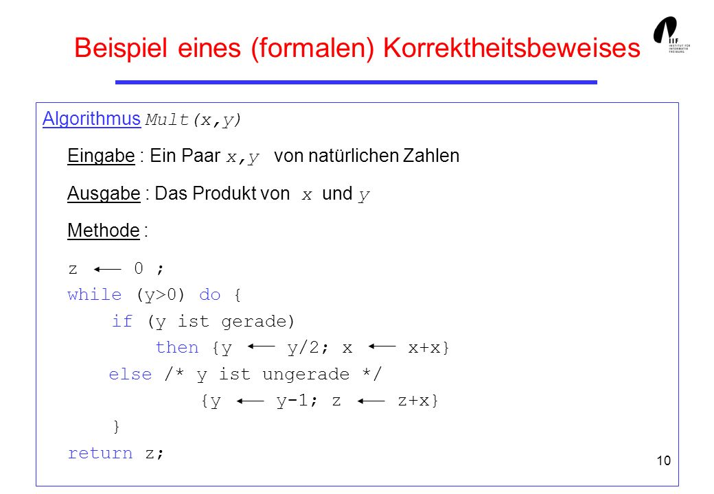 Beispiel eines (formalen) Korrektheitsbeweises