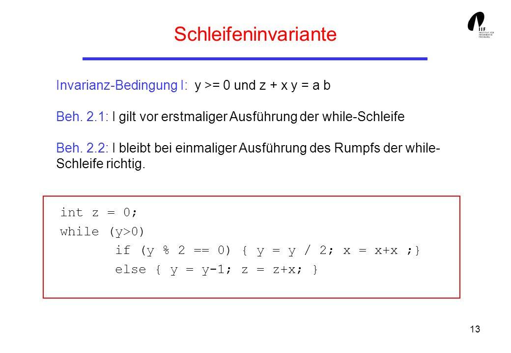 Schleifeninvariante Invarianz-Bedingung I: y >= 0 und z + x y = a b