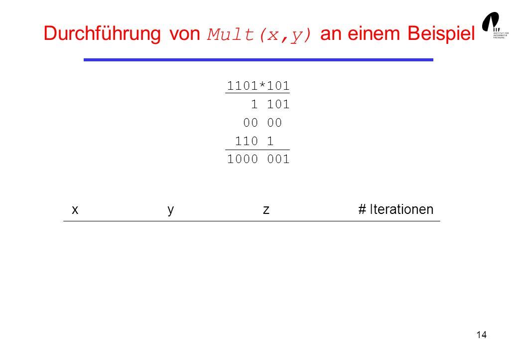 Durchführung von Mult(x,y) an einem Beispiel