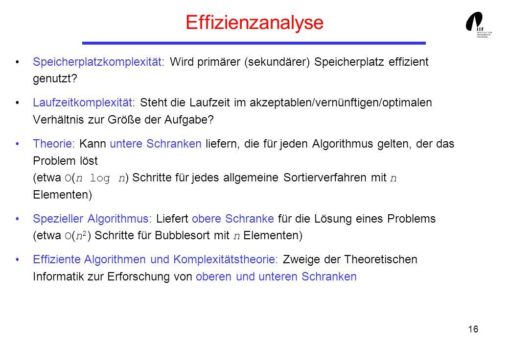 Effizienzanalyse Speicherplatzkomplexität: Wird primärer (sekundärer) Speicherplatz effizient genutzt