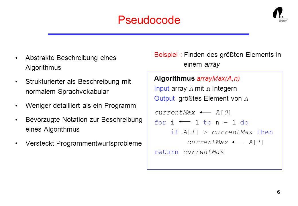Pseudocode Beispiel : Finden des größten Elements in einem array
