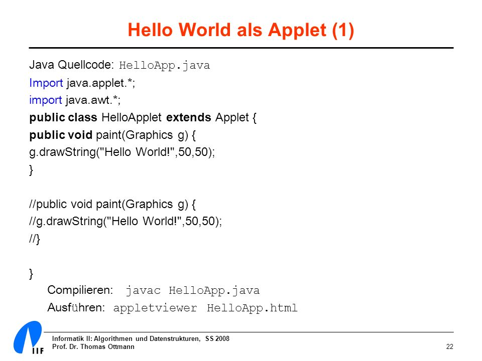 Hello World als Applet (1)