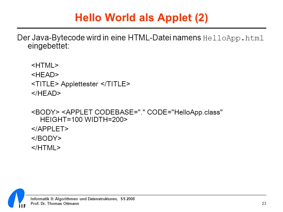 Hello World als Applet (2)