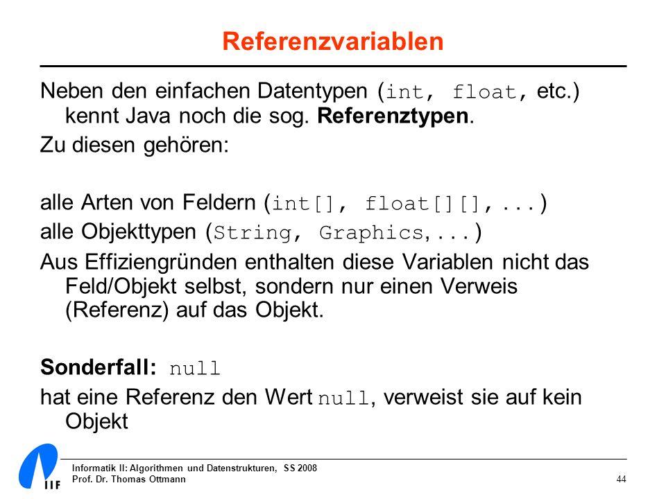 ReferenzvariablenNeben den einfachen Datentypen (int, float, etc.) kennt Java noch die sog. Referenztypen.