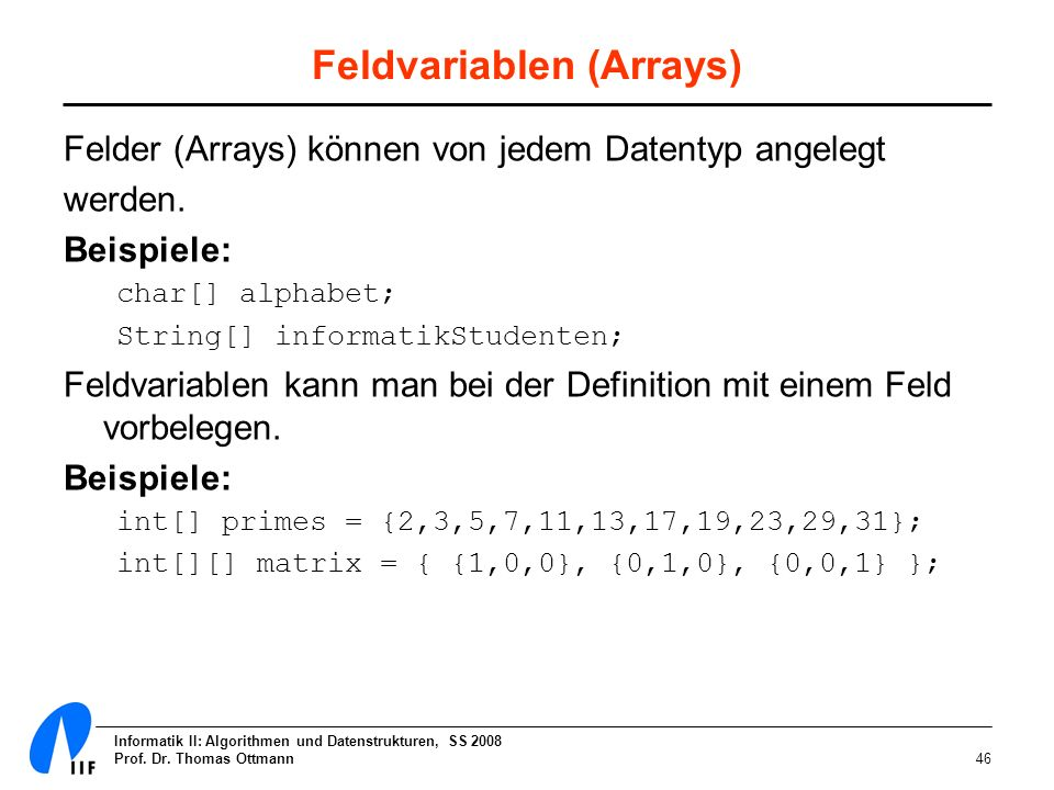 Feldvariablen (Arrays)
