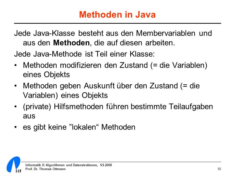 Methoden in JavaJede Java-Klasse besteht aus den Membervariablen und aus den Methoden, die auf diesen arbeiten.