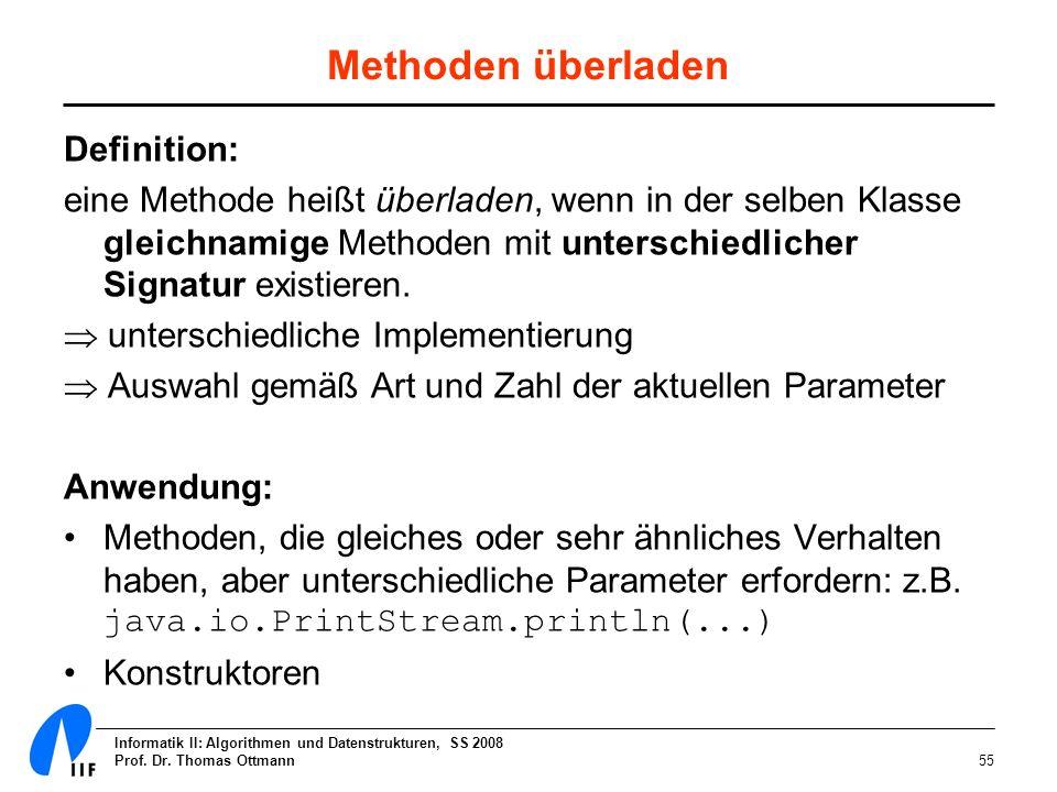 Methoden überladen Definition: