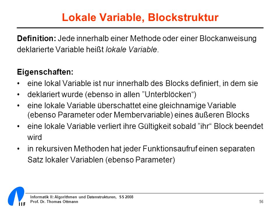Lokale Variable, Blockstruktur