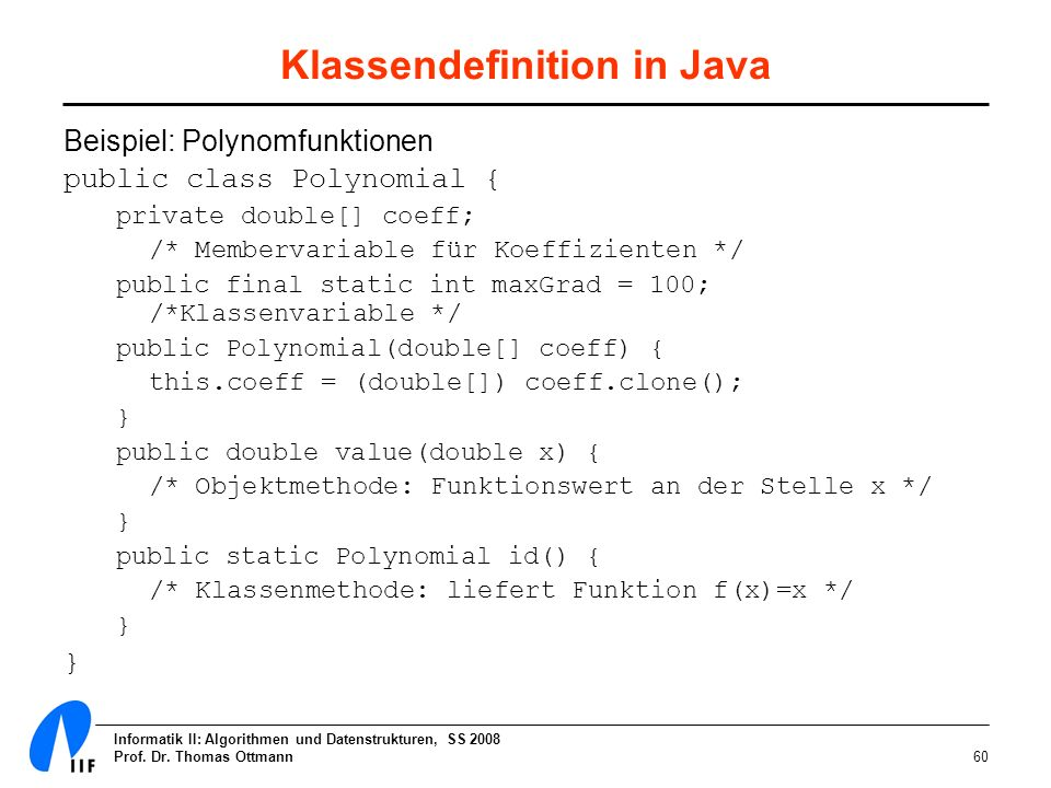 Klassendefinition in Java