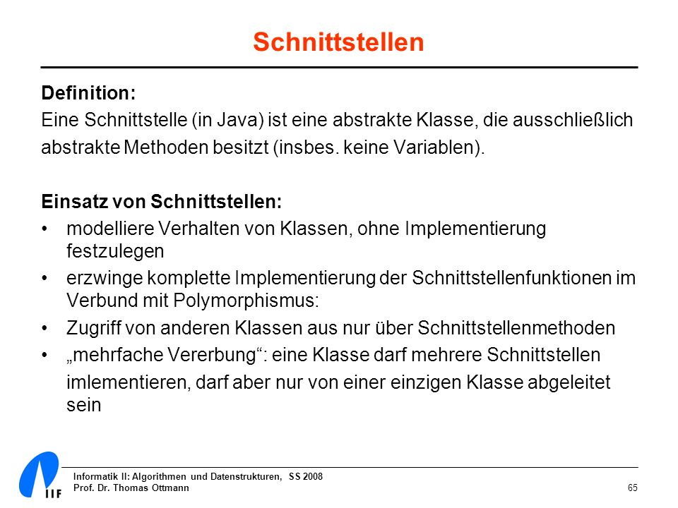 Schnittstellen Definition:
