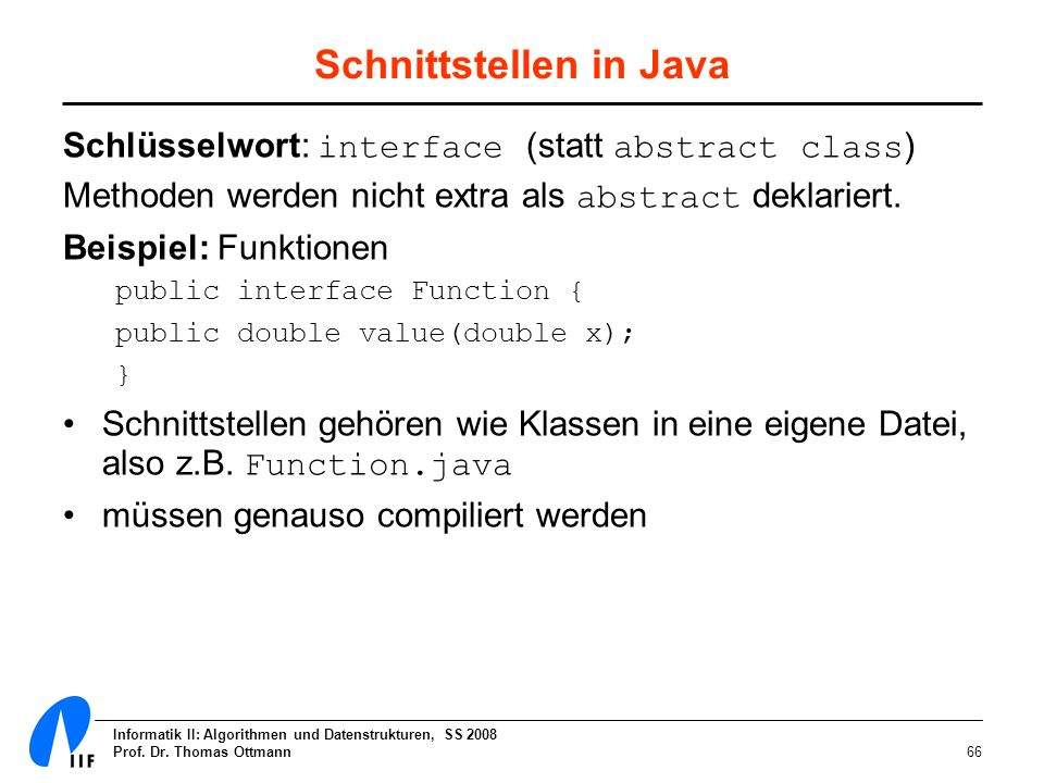 Schnittstellen in Java