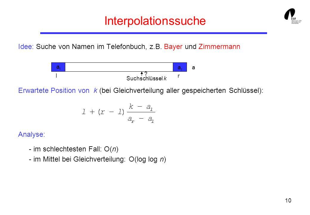 Interpolationssuche Idee: Suche von Namen im Telefonbuch, z.B. Bayer und Zimmermann.
