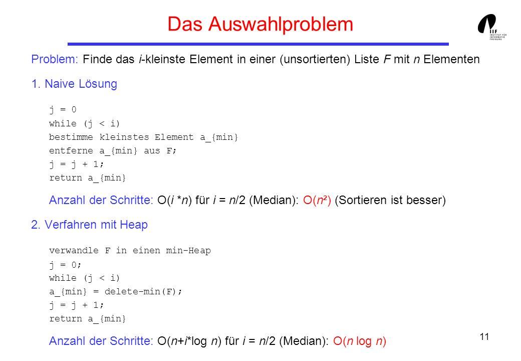 Das Auswahlproblem Problem: Finde das i-kleinste Element in einer (unsortierten) Liste F mit n Elementen.