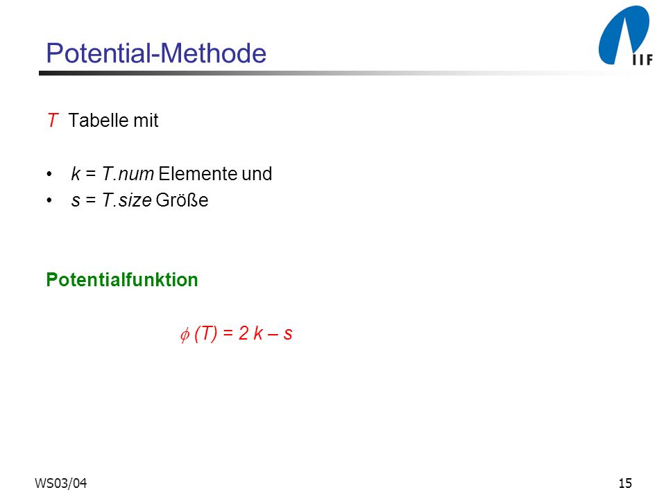Potential-Methode T Tabelle mit k = T.num Elemente und