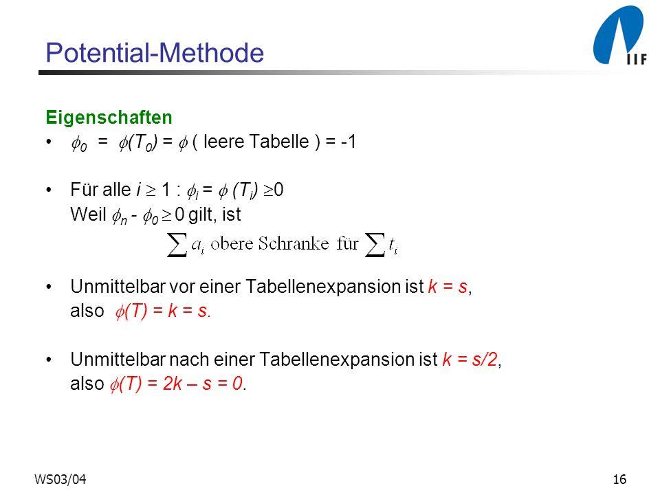 Potential-Methode Eigenschaften 0 = (T0) =  ( leere Tabelle ) = -1