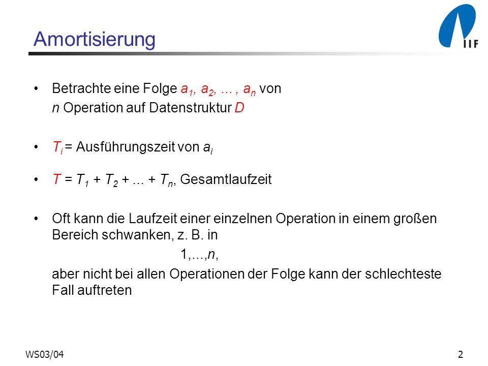 Amortisierung Betrachte eine Folge a1, a2, ... , an von