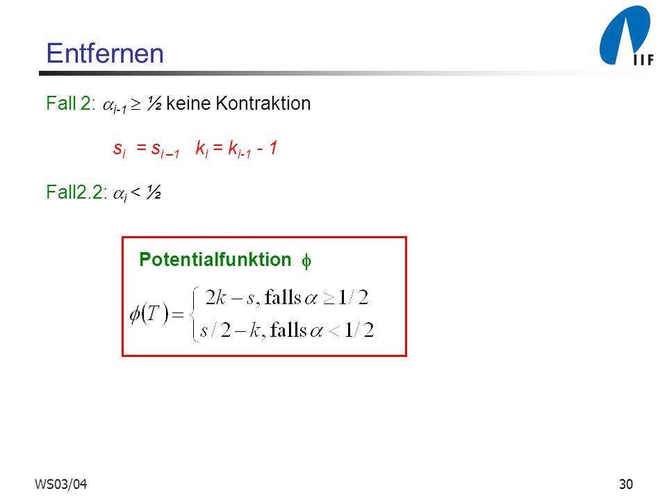 Entfernen Fall 2: i-1  ½ keine Kontraktion si = si –1 ki = ki-1 - 1