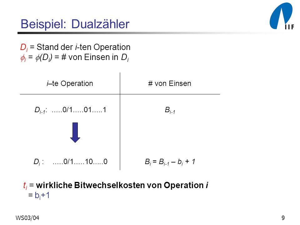 Beispiel: Dualzähler Di = Stand der i-ten Operation
