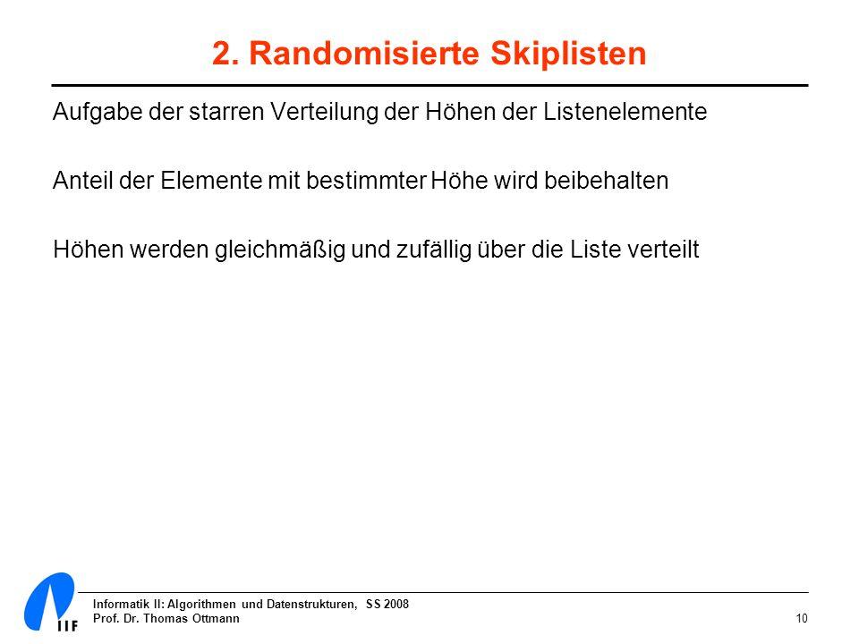 2. Randomisierte Skiplisten