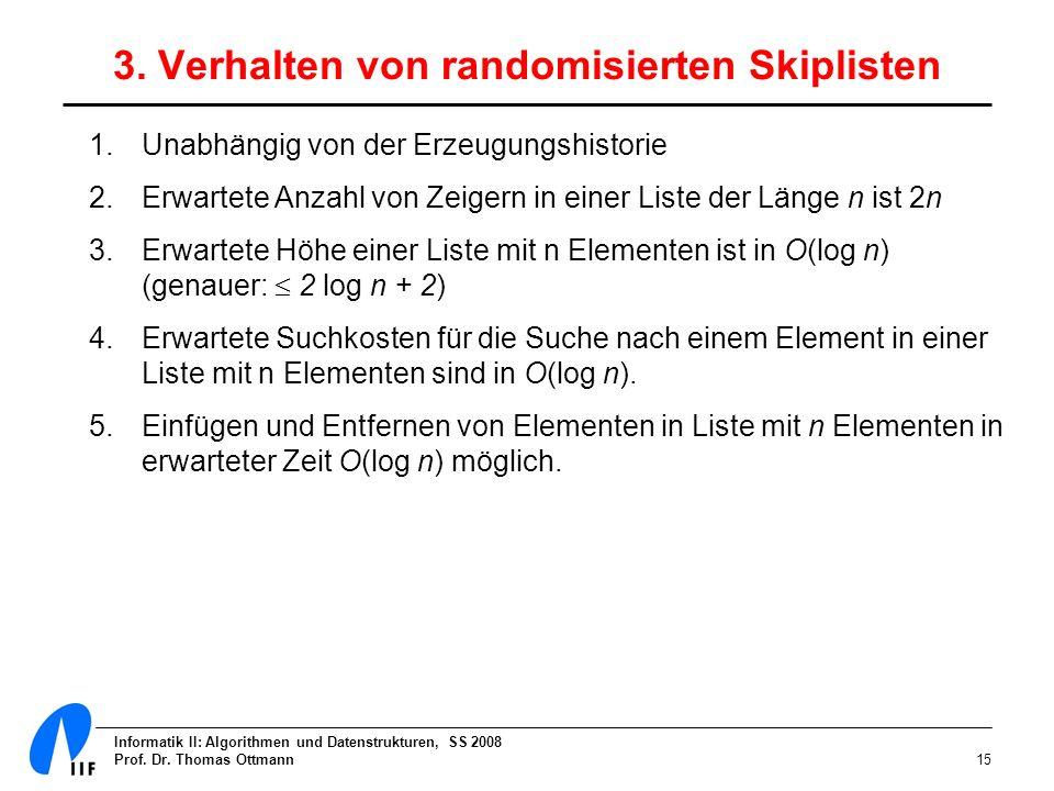 3. Verhalten von randomisierten Skiplisten