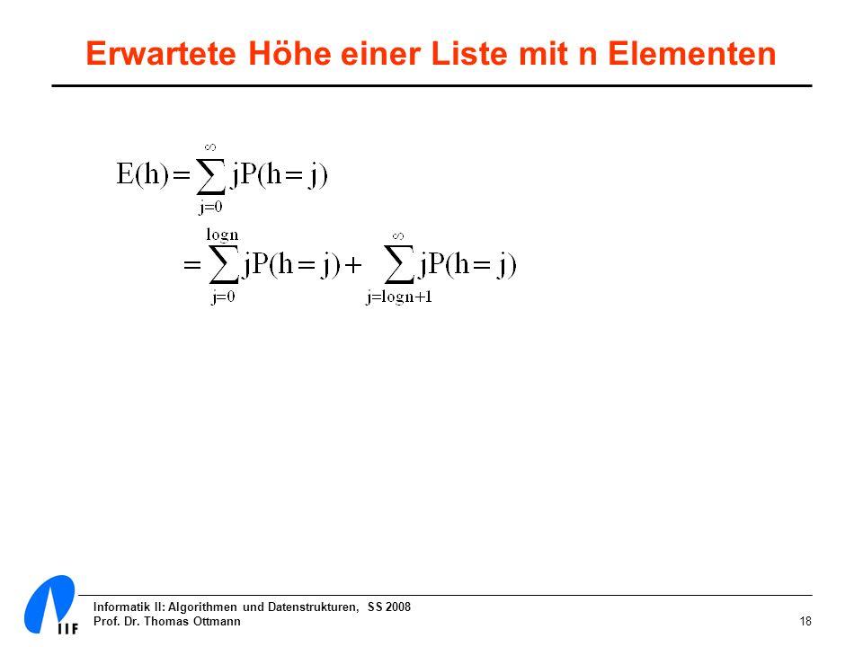 Erwartete Höhe einer Liste mit n Elementen
