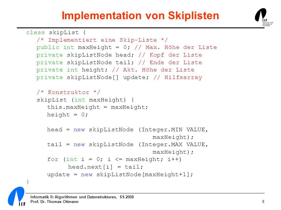 Implementation von Skiplisten