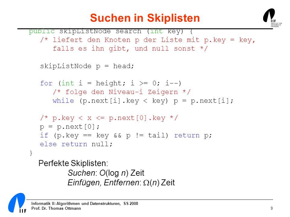 Suchen in Skiplisten Perfekte Skiplisten: Suchen: O(log n) Zeit