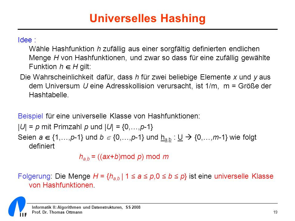 Universelles Hashing