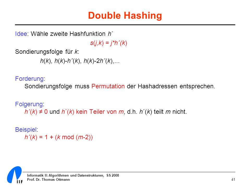 Double Hashing Idee: Wähle zweite Hashfunktion h´ s(j,k) = j*h´(k)