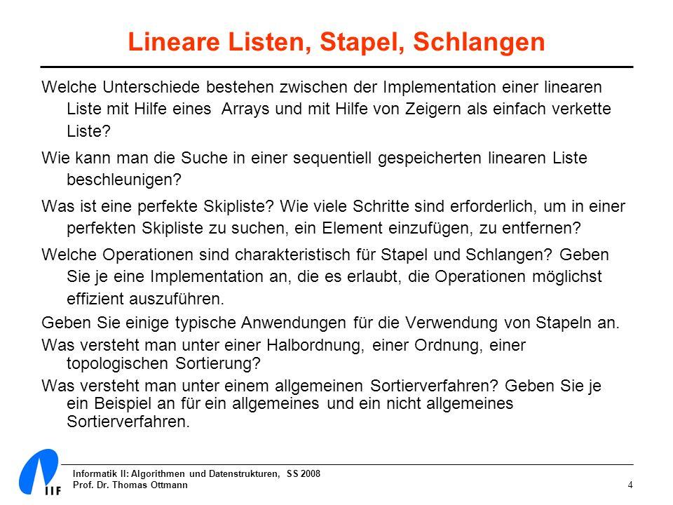 Lineare Listen, Stapel, Schlangen