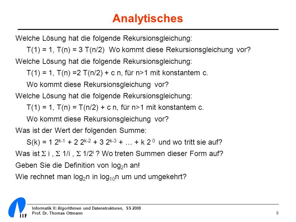 Analytisches Welche Lösung hat die folgende Rekursionsgleichung: