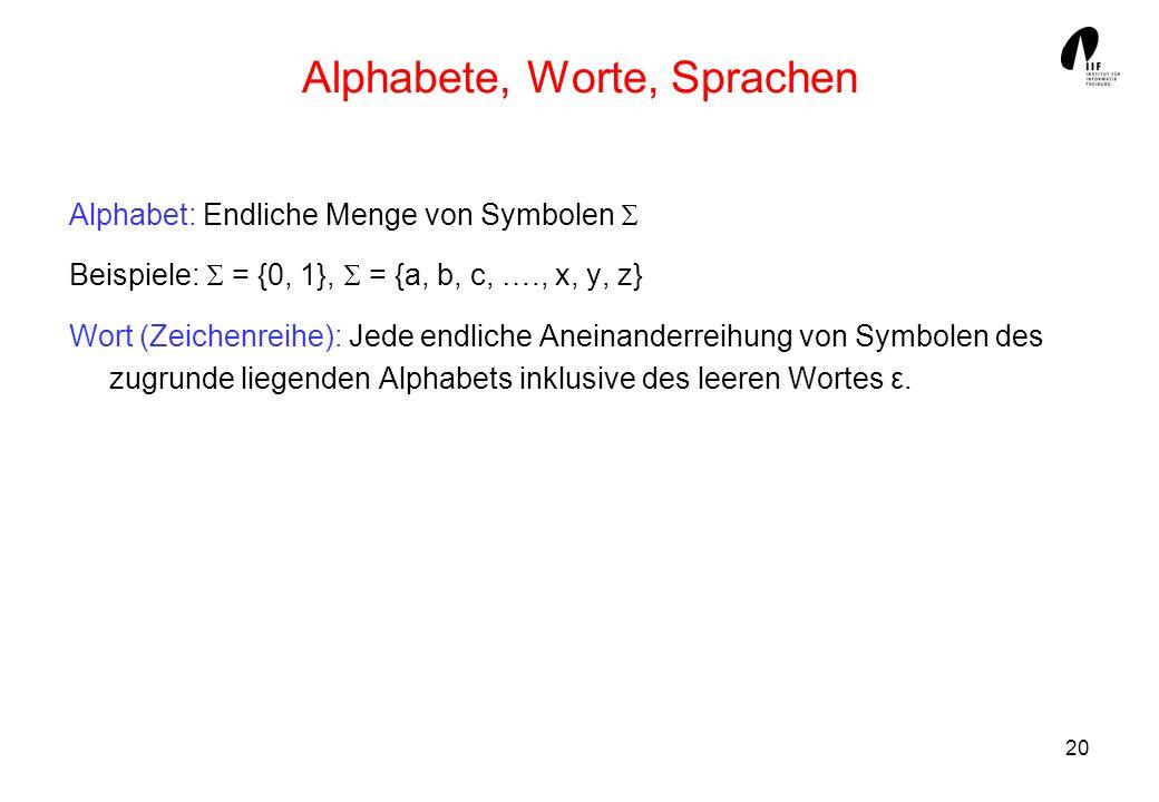Alphabete, Worte, Sprachen
