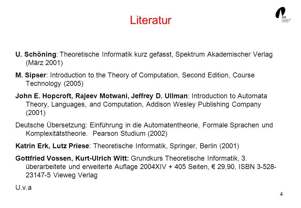 Literatur U. Schöning: Theoretische Informatik kurz gefasst, Spektrum Akademischer Verlag (März 2001)